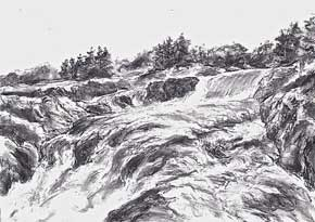 """Great Falls, on the Potomac, charcoal, 34"" x 48"", 2007"