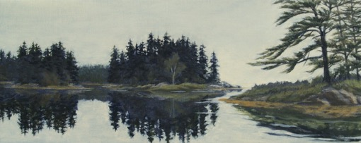 "Mill River, West, oils, 8""x20"", 2015"