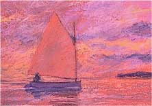 "North Haven Dinghy, Sunset, pastels, 4.75"" x 6.75"", 2008, priv coll"